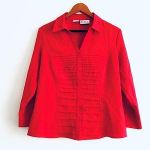 Kathy Che Vintage Red Pleated Button Down Top
